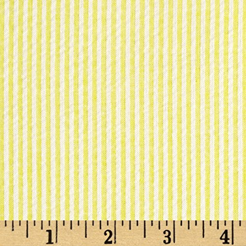 Richland Textiles Cotton Seersucker Stripe Yellow/White Fabric By The -