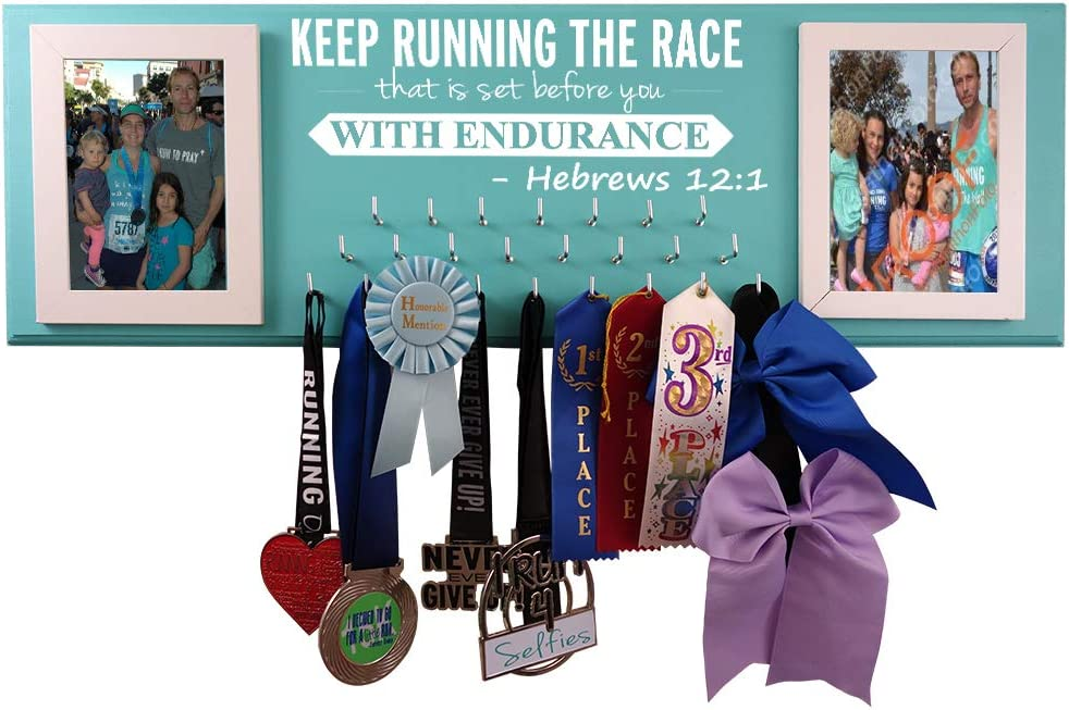 Wall Mounted Medal Holder and Hanger for Marathons, Track, Cross Country, 5K & 10K Runners - Keep Running The Race That is Set Before You with Endurance. Hebrews 12:1