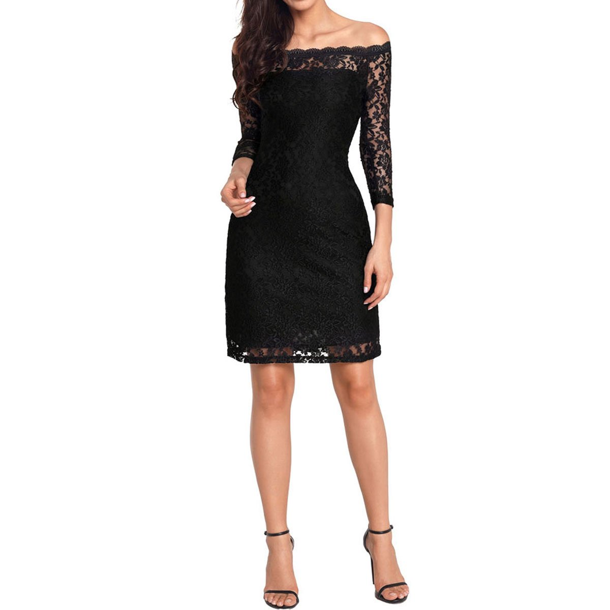 c485d5b26ae Orangetime Sexy Lace Dress For Women Black Summer Dress Vintage 1920 s  Cocktail Dress Off Shoulder Party Dresses For Wedding US 16 at Amazon  Women s ...