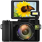 Digital Camera Vlogging Camera Full HD 2.7K 24MP 3.0 Inch 180 Degree Rotation Flip Up Screen Cameras for YouTube with…