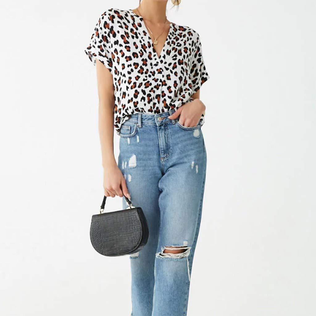 SEWORLD Camisa de Mujer de Manga Corta con Estampado de Leopardo Tops Blusa Suelta Cuello en V Camiseta Moda