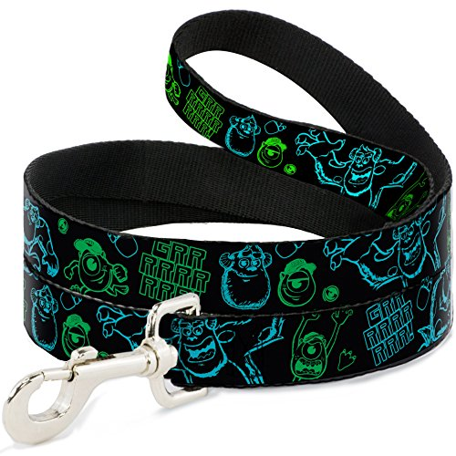 buckle-down-wide-05-monsters-inc-sully-mike-poses-grrrrr-black-turquoise-green-dog-leash-6