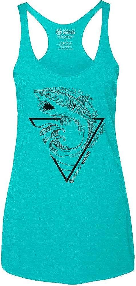 Great White Shark Tank Top: Womens Tri-Blend Raceback