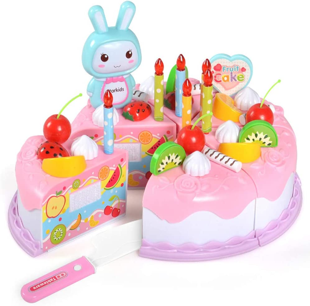 MotH DIY Cutting Pretend Play Birthday Party Cake for Kids, Decorating Party Play Food Toys Set Candles Fruit Dessert, Children's Day Girls Boys Gift (Pink)