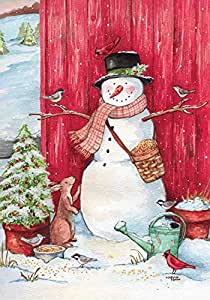 "Country Snowman Winter Garden Flag Woodland Friends 12.5"" x 18"" Briarwood Lane"