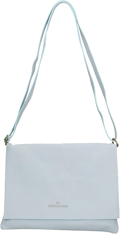 Roberta Rossi Cristina bolso borsettbandolera tracollina Crossbody fashion stilosa moda mujer piel auténtica Made in italy 23x18x1 cm RR33ST25CGLSLV Sky