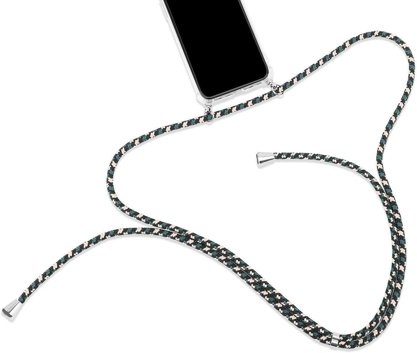 Uposao Compatibile con Samsung Galaxy A10 Collana per Cellulare con Cordoncino Cordino e Soft Cordino Custodia Trasparente Morbido TPU Cover Silicone 3D Custodie Case,Verde Nero
