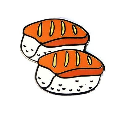 ac6974218 Image Unavailable. Image not available for. Color: Real Sic Sushi Enamel  Pin Kawaii Sashimi Emoji Lapel ...