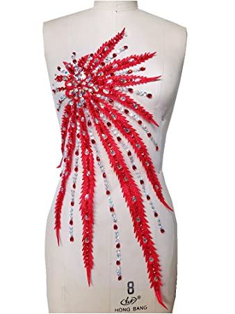 Amazon.com  Handmade Rhinestones Lace Applique Red Clear AB Colour ... fccc0aa4cd45