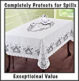 "Just released. The Next Generation of Vinyl Lace Tablecloth 54""x72"" (inches), White. Elegant, easy-to-care for, light gauge vinyl. Machine washable. Dryer safe when you follow instructions included - removes most wrinkles"