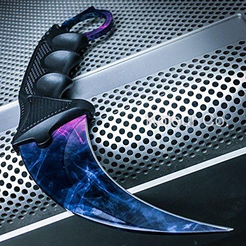 CSGO Karambit Hawkbill Talon Soul Full Tang Fixed Blade Neck Knife w/ABS Sheath (Limited Edition) (Black Pearl)