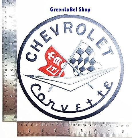 Big Large Jumbo CHEVROLET CORVETTE Motors Cars Racing Patch Logo Sew Iron on Embroidered Appliques Badge Sign Costume Send Free (Corvette Logo Sign)