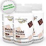 3er Pack Vita World Reishi Extrakt 500mg 300 Kapseln Apotheken Herstellung Ling Zhi