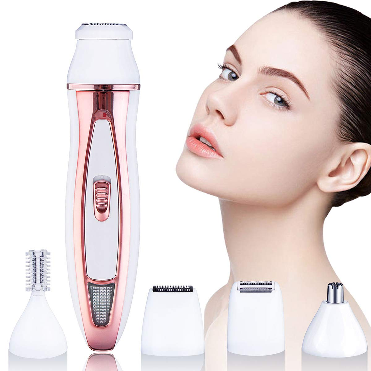 Facial Hair Removal for Women, HOCOSY Rechargeable Women Face Hair Remover 5 in 1 – Facial Shaver, Eyebrow Trimmer, Nose Trimmer, Body Shaver, Beard Trimmer – Facial Hair Trimmer for Women