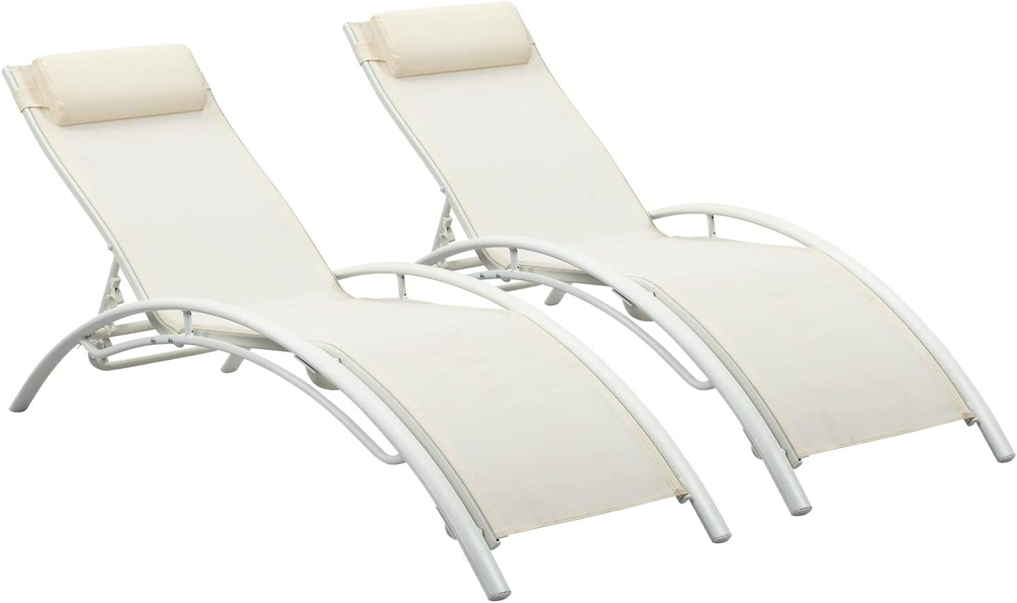 Ainfox Adjustable Chaise Lounge, Patio Reclining Elegant Lounge Chair Recliners Aluminum Sunbathing Chair with Headrest2 Pack (White)