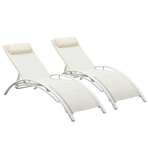 Wonlink Patio Chaise Lounge Sets,Outdoor 4 Adjustable Reclining Chaise Lounge Chair,with Removable Pillow Set of 2