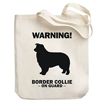 Teeburon WARNING Border Collie ON GUARD Canvas Tote Bag
