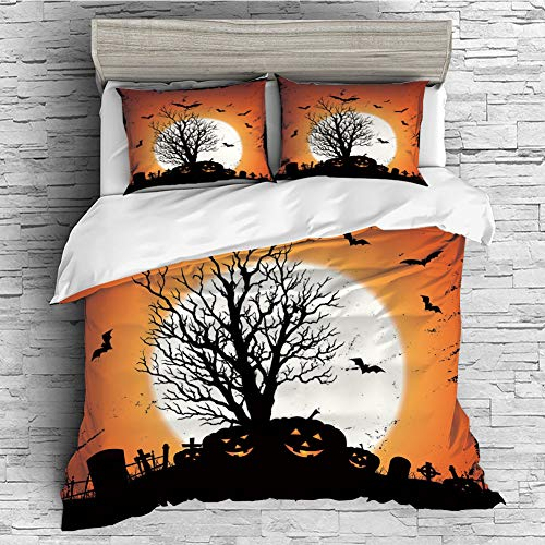 Cotton Duvet Cover 4 Pcs Comforter Cover Set Breathable and Skin-Friendly Bedding Set(queen size)Vintage Halloween,Grunge Halloween Image with Eerie Atmosphere Graveyard Bats Pumpkins,Orange Black ()