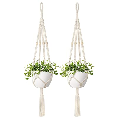 Mkono 2 Pcs Macrame Plant Hangers Indoor Outdoor Hanging Planter Basket Cotton Rope with Beads 4 Legs 41 Inch: Garden & Outdoor