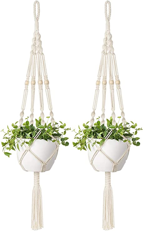 Mkono 2 Pcs Macrame Plant Hanger Indoor Outdoor Hanging Planter Basket Cotton Rope with Beads 46 Inch