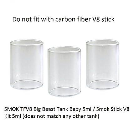 Original Smok TFV8 Big Baby Beast- V8 tubos de vidrio Pyrex- 3 piezas en paquete- (Compatible con el kit Smok Stick V8) - 24.5mm, Este producto no ...
