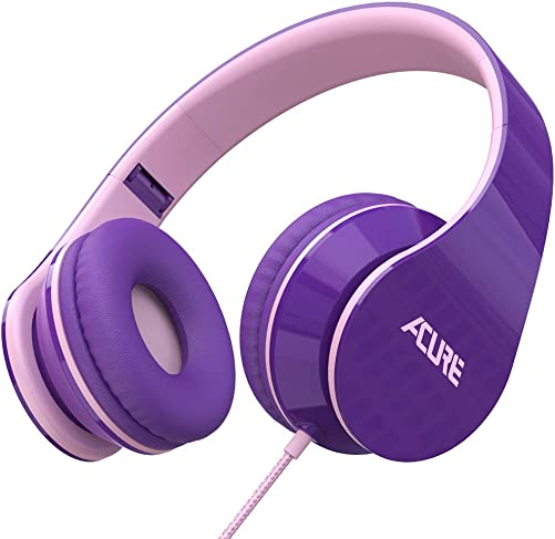 ACURE AC02 Wired Headphones with Lightweight Over Ear Design for Girls Boys Kids, Stereo Foldable Headset Compatible with Laptop Tablet PC Computer Purple Pink