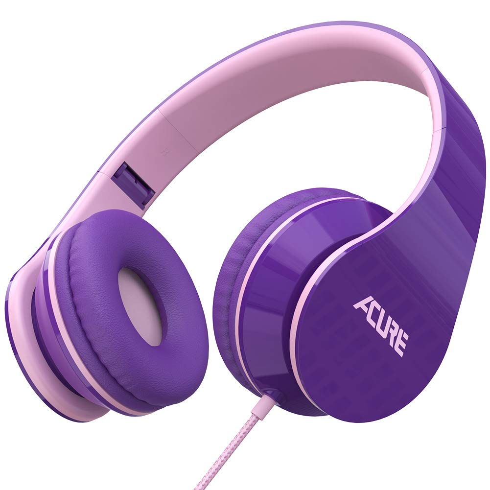 ACURE AC02 Wired Headphones with Lightweight Over Ear Design for Girls Boys Kids, Stereo Foldable Headset Compatible with Laptop Tablet PC Computer (Purple Pink)