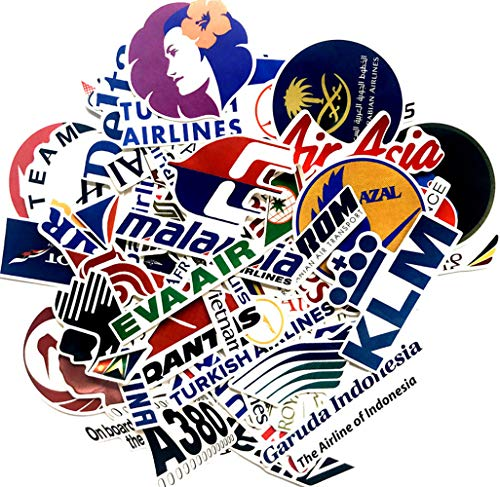Airline Stickers Airline Logos Ticker Laptop Stickers Car Motorcycle Bicycle Luggage Decal Graffiti Patches Skateboard Stickers for Laptop - No-Duplicate Sticker Pack (52PCS Airline Sticker)