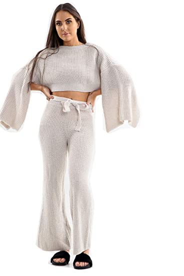 5cc6cea9c9ec Fashion4u New Womens Ladies Wide Pants & Sleeve Knitted Co-Ord Set  Tracksuit Size UK