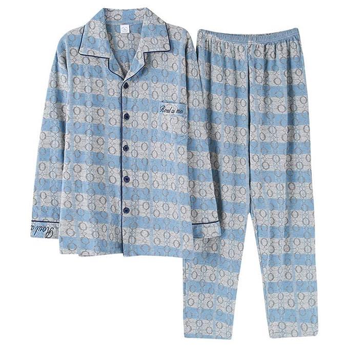 Meaeo Pijamas De Hombre, Yjamas De Solapa De Manga Larga De Otoño, Conjuntos De Pijama, Vestirse De Noche, Ropa De Dormir, Camisón, Ropa De Hogar: ...