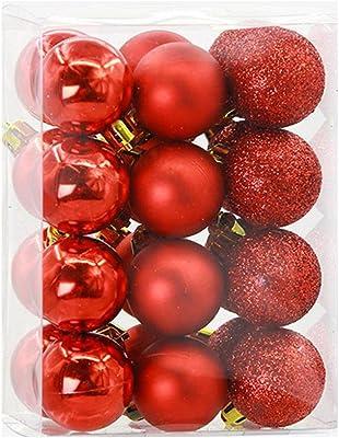 Ornaments, Hatop 24Pcs Christmas Balls Baubles Party Xmas Tree Decorations Hanging Ornament Decor (Red)