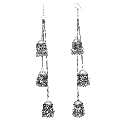 07b7b4fea Buy Cardinal Designer Oxidised Silver Hook Earrings for Women(66, Pink) Online  at Low Prices in India | Amazon Jewellery Store - Amazon.in