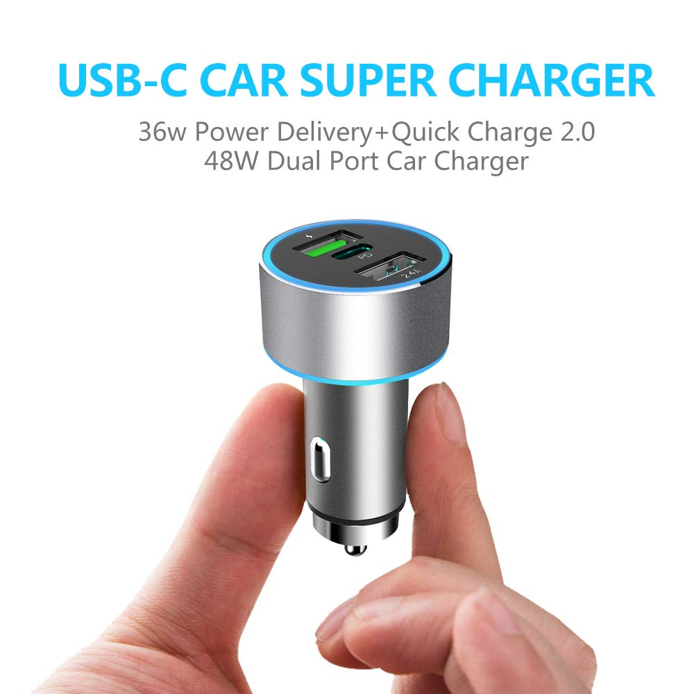 Car Charger with USB Type C PD and Dual USB Quick Charge 3.0 PD Chipset-ENBL the PD Port 36W Output and Dual USB Port 48W Output for XR XS X s9 s8 Edge Plus,Note 9 8, ,All Metal -Silver E-Auto 4351526136