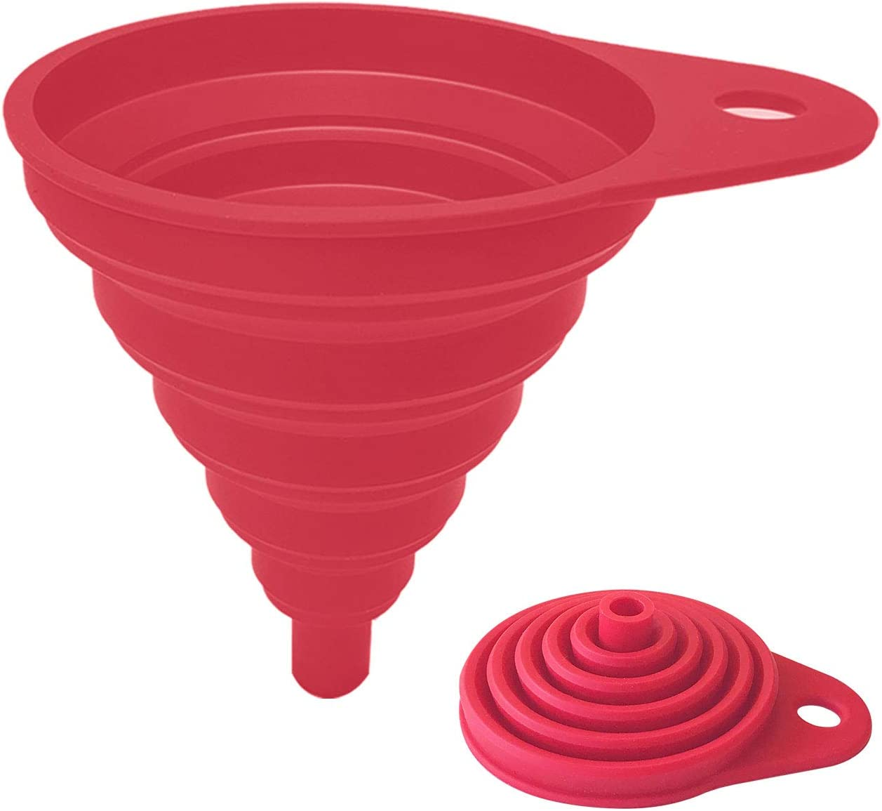 Funnels for Kitchen Use, Kitchen Funnels for Filling Bottles, Food Grade Collapsible Funnel, Silicone Food Funnel for Liquids and Oil(1Pack Red)