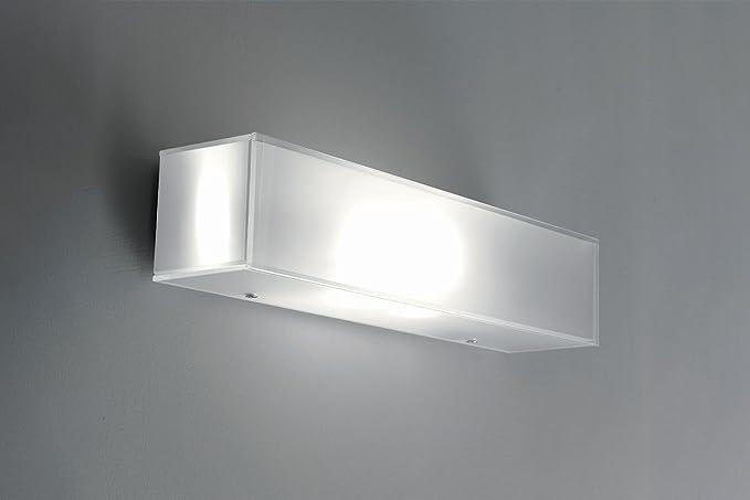 Applique da parete vetro bianco lucido moderno rettangolare