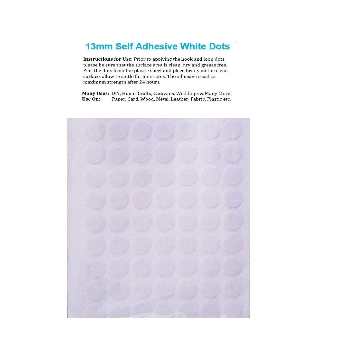 200 x 13mm Hook and Loop Self Adhesive White Coins Dots 100 Hook & 100 Loop Specialist tapes uk