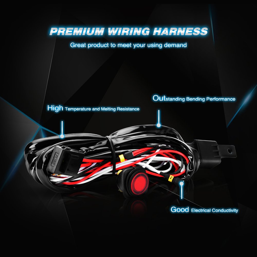 Nilight Off Road Led Light Bar Wiring Harness Kit 12v Relay On For Atv Rocker Switch Jeep Truck2 Years Warranty Fba Nil102 Bulbs Automotive Tibs