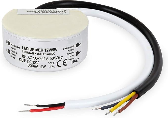 LED Transformador de aluminio IP67 5 W redondo – para caja de ...