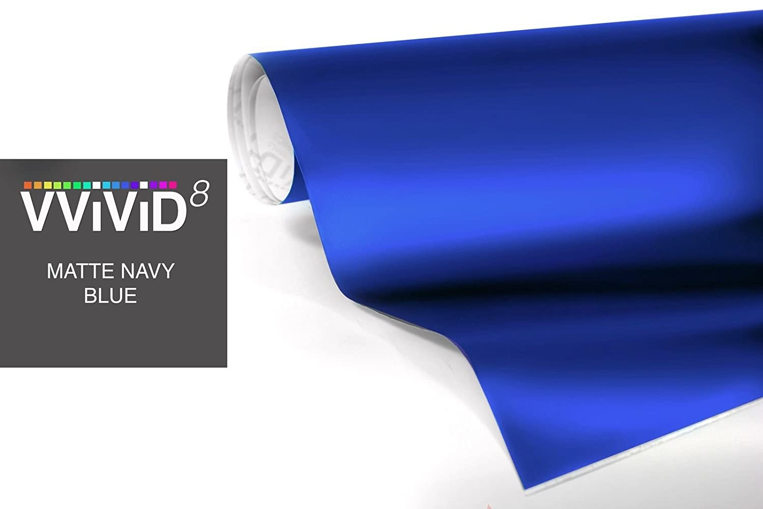 17.75 x 5ft Matte Dark Blue Car Wrap Vinyl Roll with Air Release 3mil-VViViD8