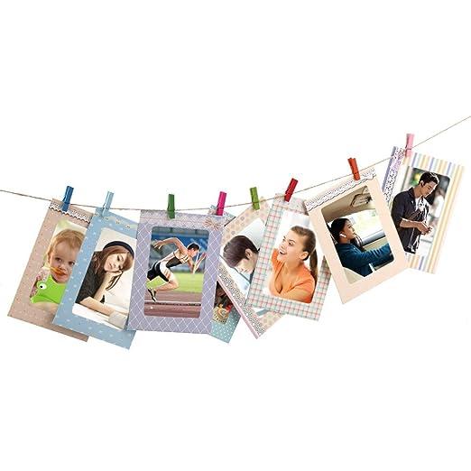 AFAITH 8PCS Porta retrato 6 Decoración casera creativa DIY Pared de papel de la foto del marco de la pared Álbum de la imagen + Cuerda colgante + clip de ...