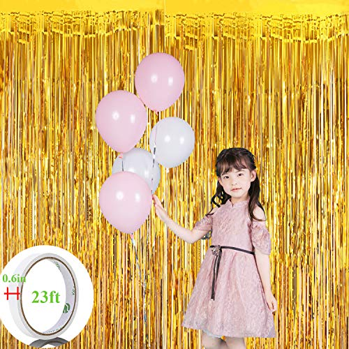 OTraki 2pcs Gold Foil Fringe Curtains 3.2 x 9.8ft Metallic Photo Backdrop for Birthday Wedding Party Baby Shower Shiny Tinsel Booth Prop Door Window Curtain + 23ft Adhesive Tape ()