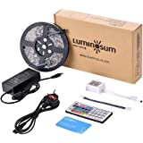 LUMINOSUM LED Strip Lights RGB Kit, 5M 300LEDs SMD5050 Waterproof, with 44-key IR Controller & DC12V 5A Power Adapter, 1…
