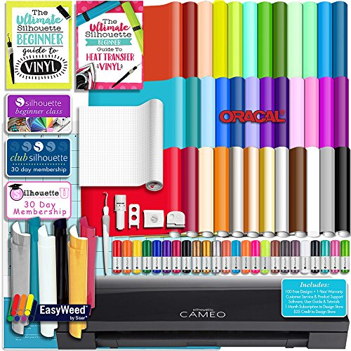 Silhouette BLACK CAMEO 3 Bluetooth Starter Bundle with 36 12x12 Oracal Sheets, Siser Easyweed T-Shirt Vinyl, Membership, Transfer Paper, Guide, Class, 24 Sketch Pens, and More by Silhouette