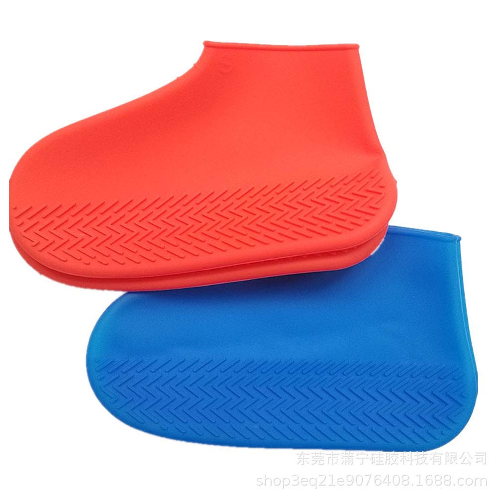 Fashion Designed Rain Shoe Covers with Triangle Pattern NirvanaOrb Blue and Red Thick Rain Shoe Covers