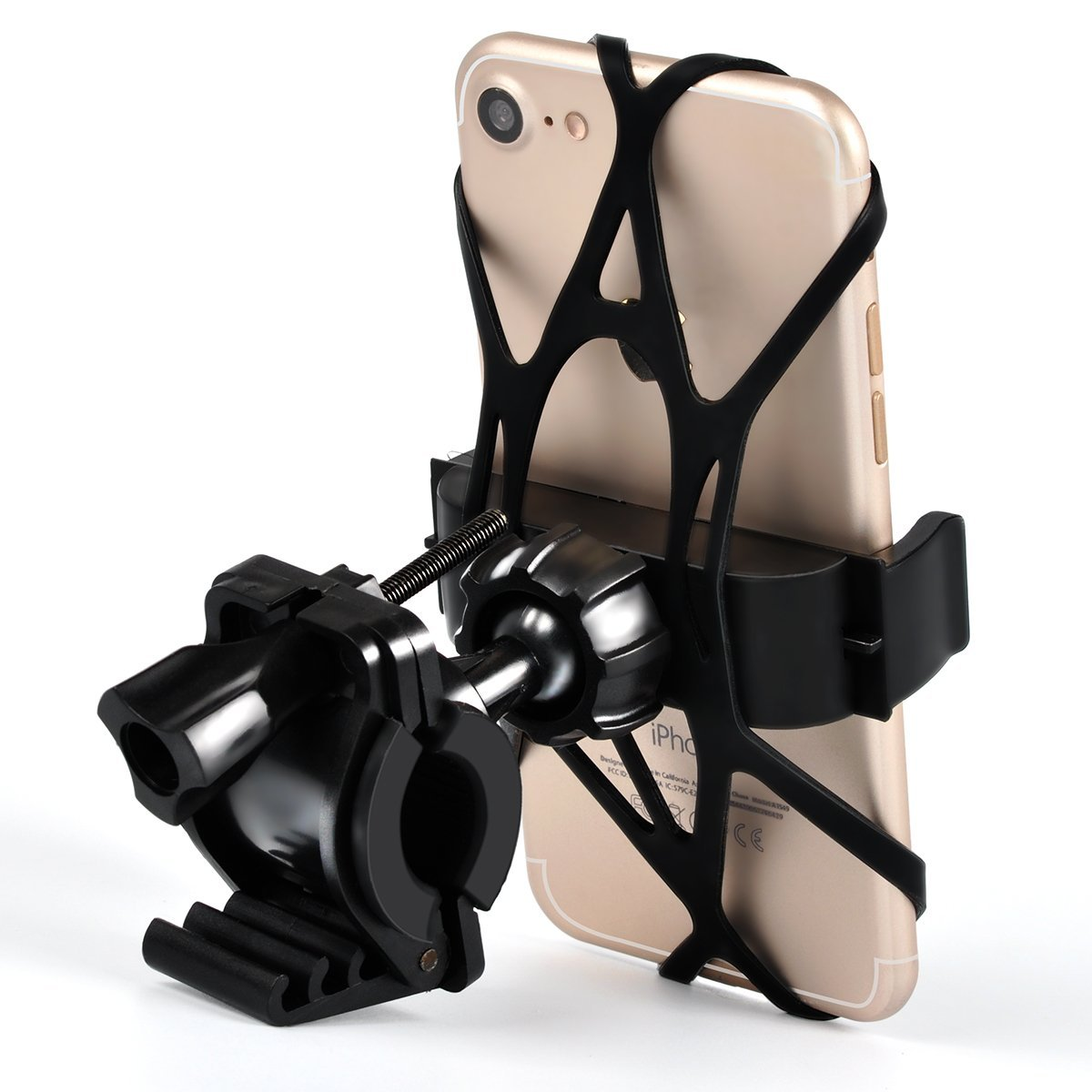 Universal Bike Phone Mount Motorcycle Handlebar Mount Bicycle Phone Holder Silicone Support Band 4-6.0 inches Phones Other Devices (Black) Cornmi