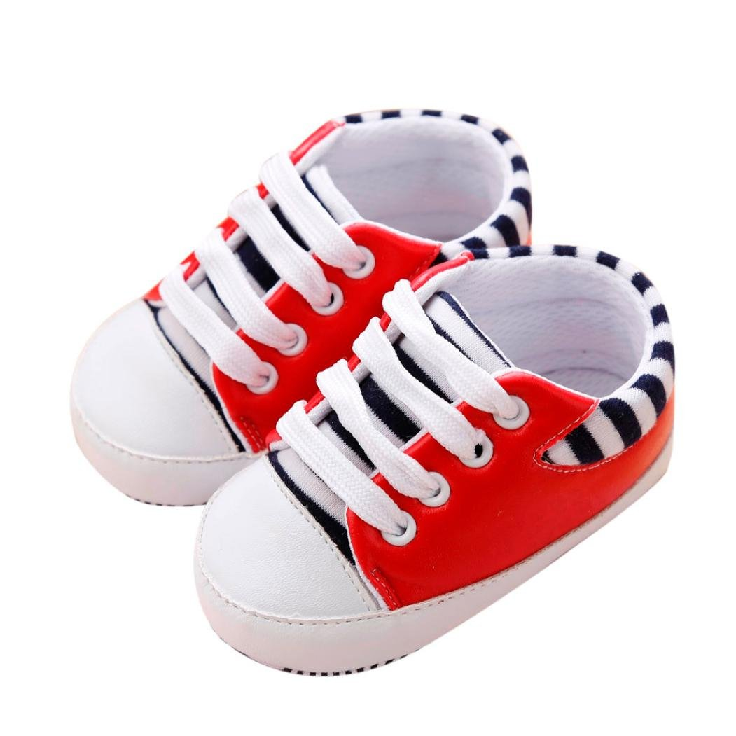 Voberry Infant Baby Boy Girl Stripe Sneakers Toddler Soft Sole Bandage Crib Shoes