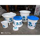 DND Marketing Super Deluxe Flower Print Bathroom Bathing Set of 6 Piece with Plastic Bucket, Mug, Tub, Dustbin, Patla, Shop Cash (White-Blue)