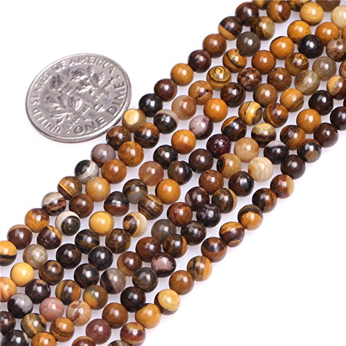 Iron Zebra Jasper Beads for Jewelry Making Natural Gemstone Semi Precious 4mm Brown Round 15