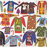 Ideal Home Range 20-Count Ugly Christmas Sweater Paper Cocktail Napkins, Multicolored