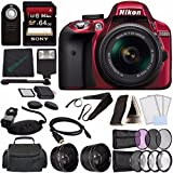 Nikon D3300 DSLR Camera with 18-55mm AF-P DX Lens (Red) + Sony 64GB UHS-I SDXC Memory Card (Class 10) + Remote + Flash + Cleaning Cloth Bundle